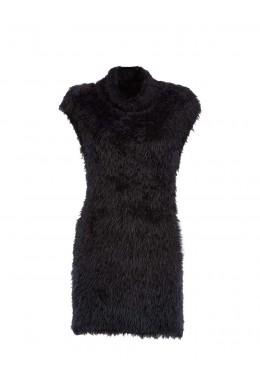 Женское платье черное с мехом IMPERIAL - M1632004